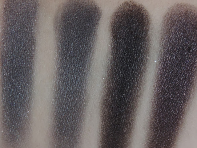 Urban Decay Naked Smoky Palette (swatches from left) Slanted, Dagger, Black Market, Smolder