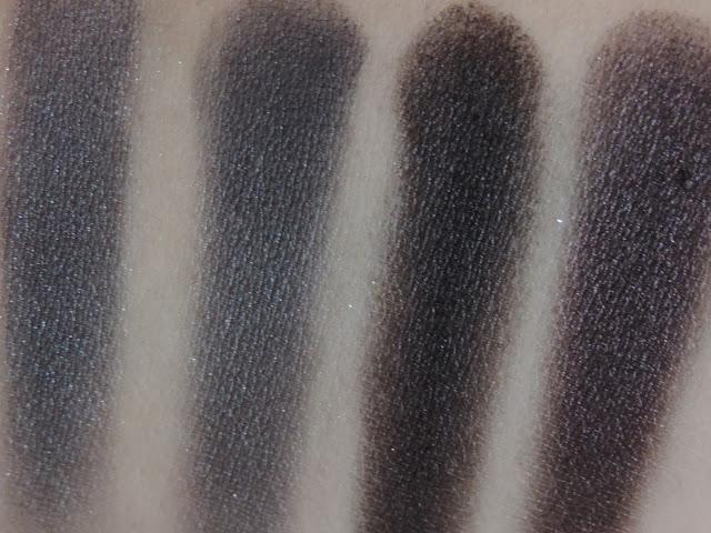 Urban Decay Naked Smoky Palette (swatches from left) Slanted, Dagger, Black Market, Smolder