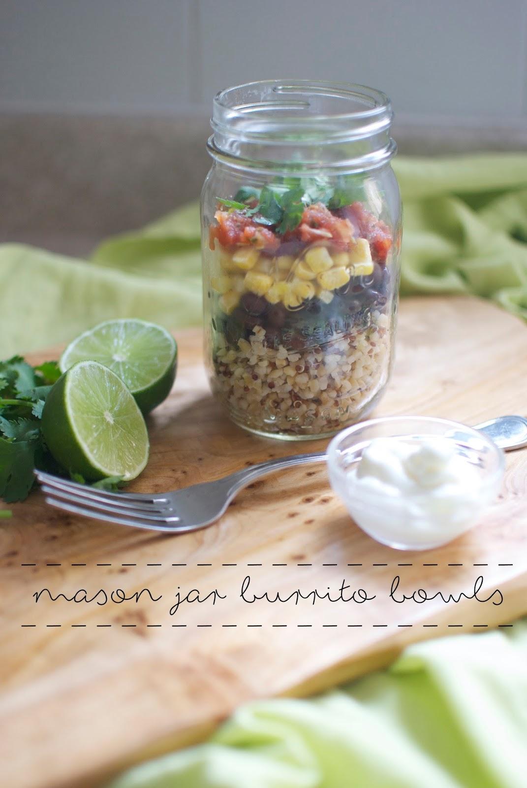 mason jar burrito bowls