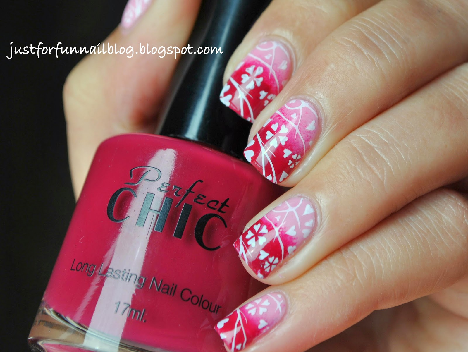 Springy Pink Gradient with Pueen33 Stamping Plate