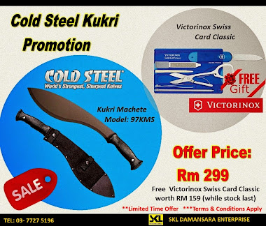 Best Deal!!!!Cold Steel Kukri  now on Promotion!! . Offer price now RM 299 & FREE Victorinox