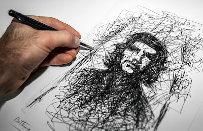 Art by Ben Heine - Che Guevara ballpoint pen sketch on paper