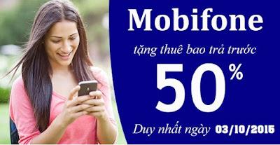 Khuyến mãi Mobifone tặng 50% giá tri thẻ nạp ngày 03/10