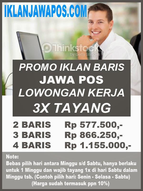 Promo Iklan Baris Lowongan Kerja Jawa Pos 2014 Paket 3X Tayang