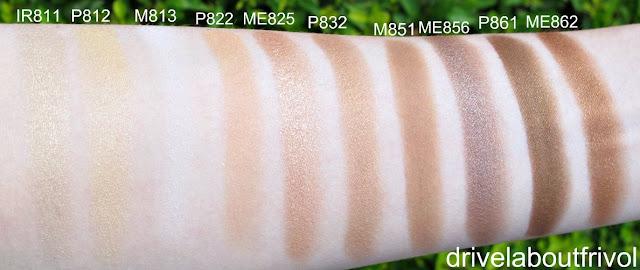 swatch Shu Uemura eyeshadow IR811 IR 811, P812 P 812, M813 M 813, P822 P 822, ME825 ME 825, P832 P 832, M851 M 851, ME856 ME 856, P861 P 861, ME862 ME 862
