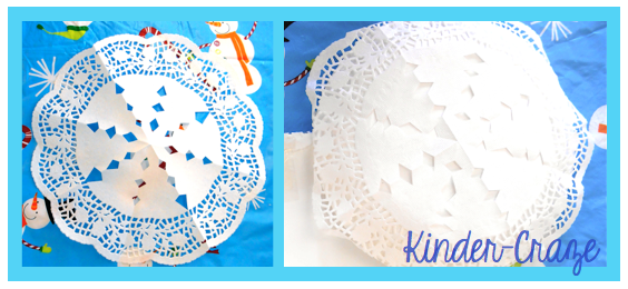 doily + paper plate + paint = pretty snowflake decoration