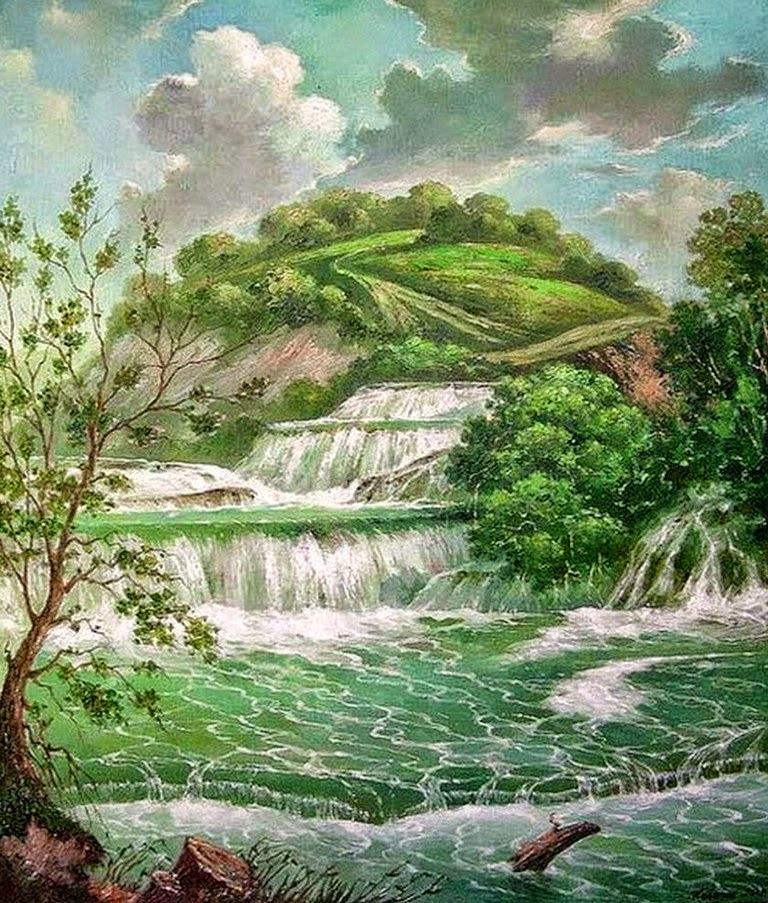 paisajes-con-cascadas-cuadros-pintados-al-oleo