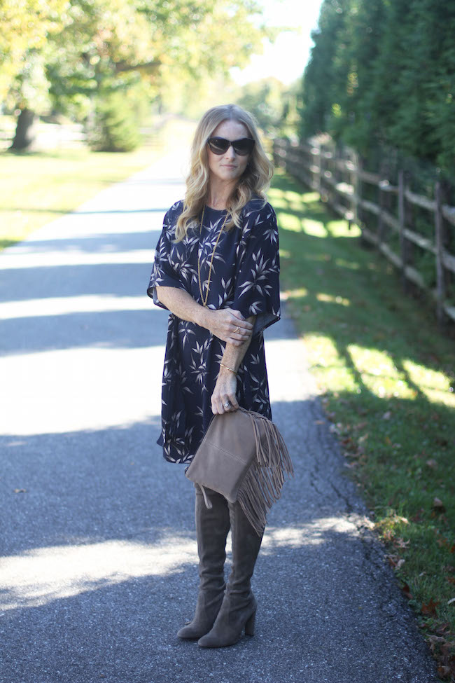 mango dress, stuart weitzman boots, mango clutch, julie vos necklace