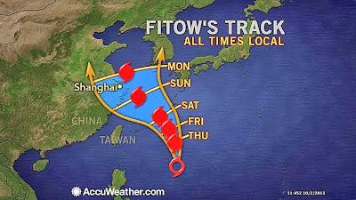 Pronostico desplazamiento del Tifón Fitow, 05 de Octubre 2013