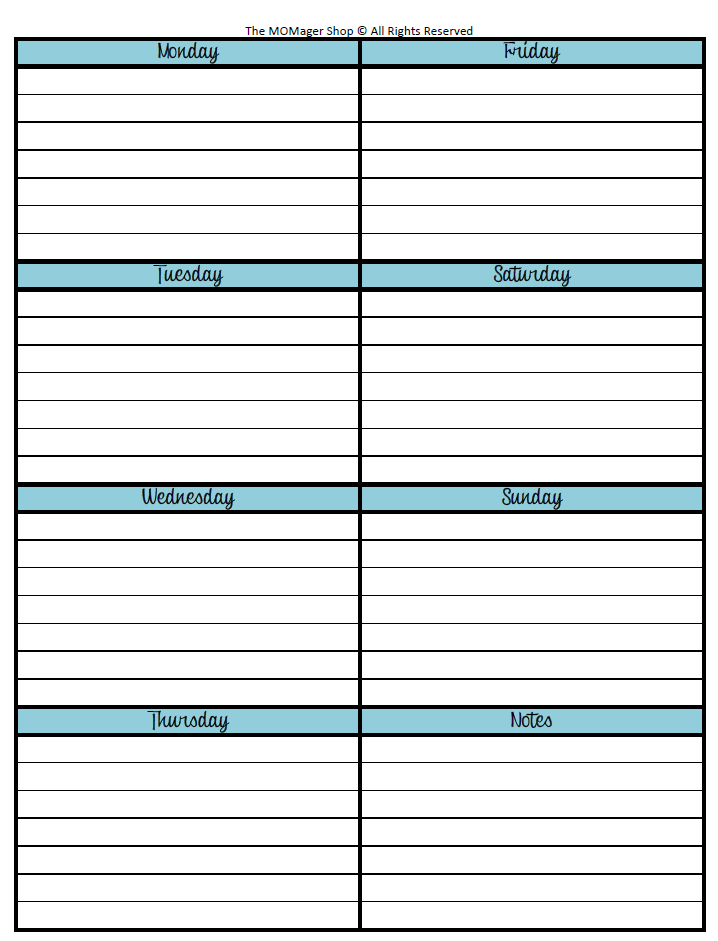 Week at a glance template new calendar template site for Day at a glance calendar template