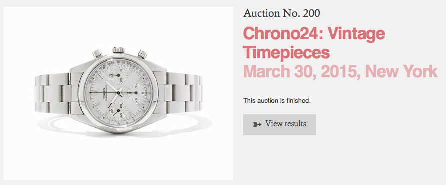 Only 26 lots Sold out of 80, Auctionata Watch Auction, 3/30/2015