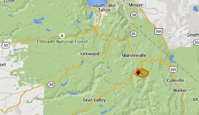 Wildfire near Markleeville now up to 9,500 acres
