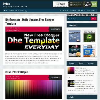 Petra blogger template. elegant template with 4 column footer