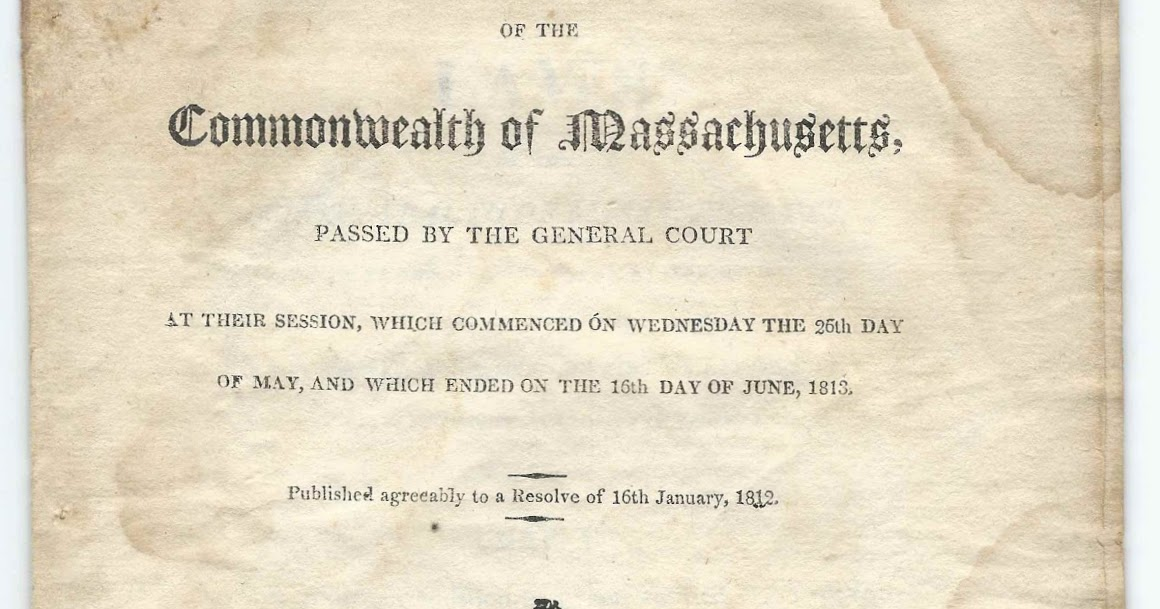 Heirlooms Reunited: 1813 Act to Incorporate The First ...