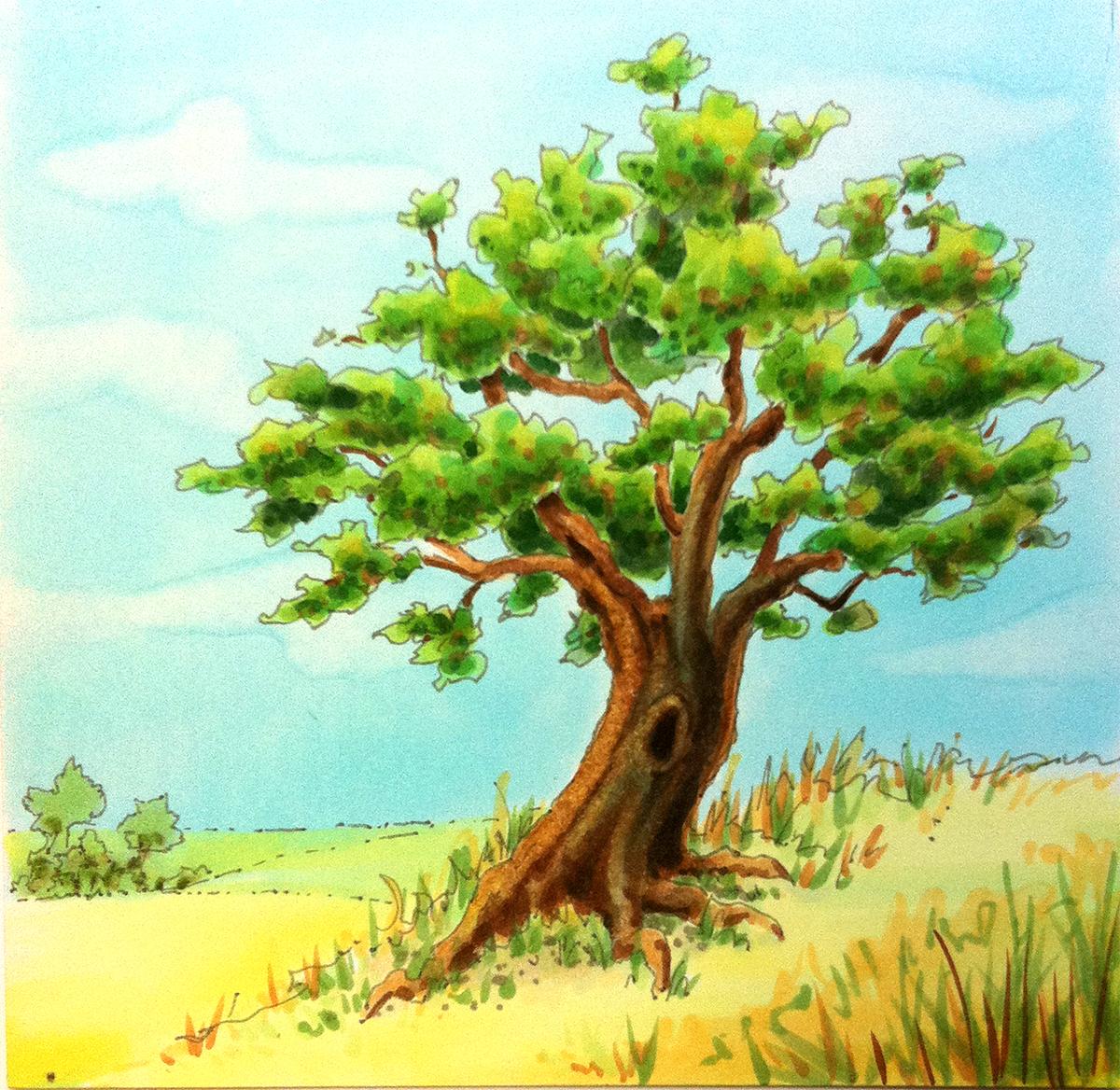Colored Tree Floodlights : I like markers sky tutorial continued