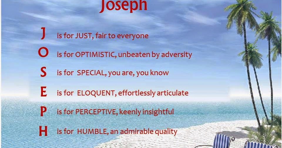 Acrostic Name Poems For Boys Joseph