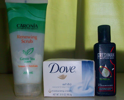 Caronia Renewing Scrub, Dove White Beauty Bar, Freshman Masculine Wash