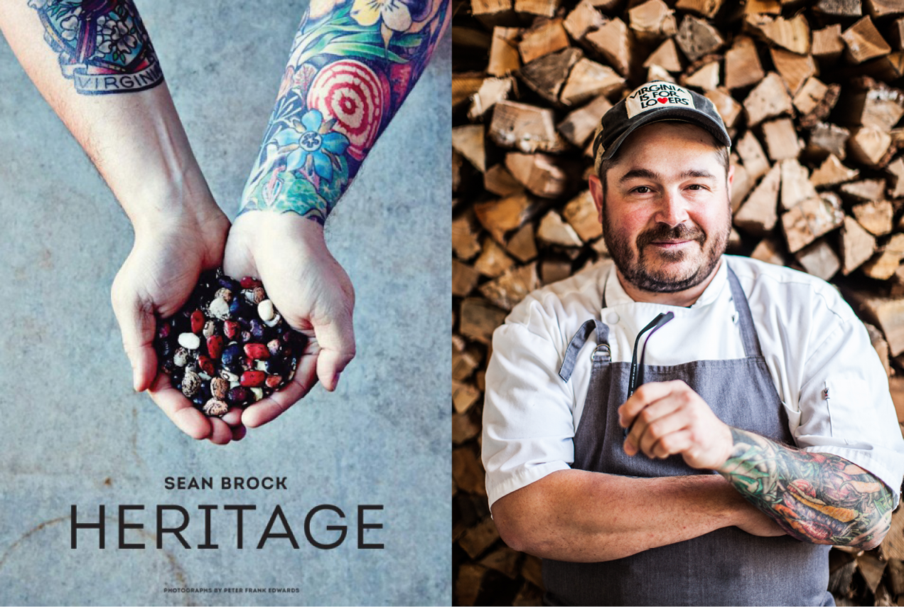 Chef Sean Brock (less sunburnt than normal!) and the cover of his new cookbook, Heritage.