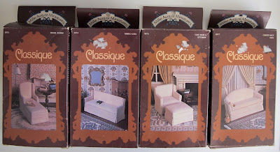 Four modern dolls' house miniature upholstery kits: two armchairs and two sofas.