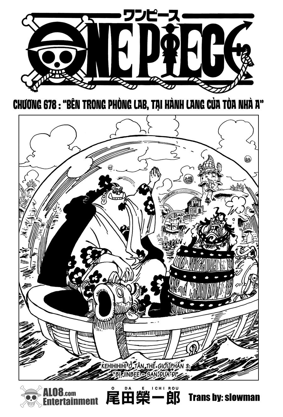 One Piece Chapter 678: Bên trong phòng Lab, tại hành lang của tòa nhà A 001