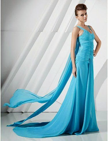 A line Straps Watteau Train Chiffon Evening Dress inspired by Eva Longoria Parker