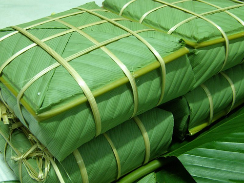 Vietnam Square Cake with the glossy green when they are taken off the ...