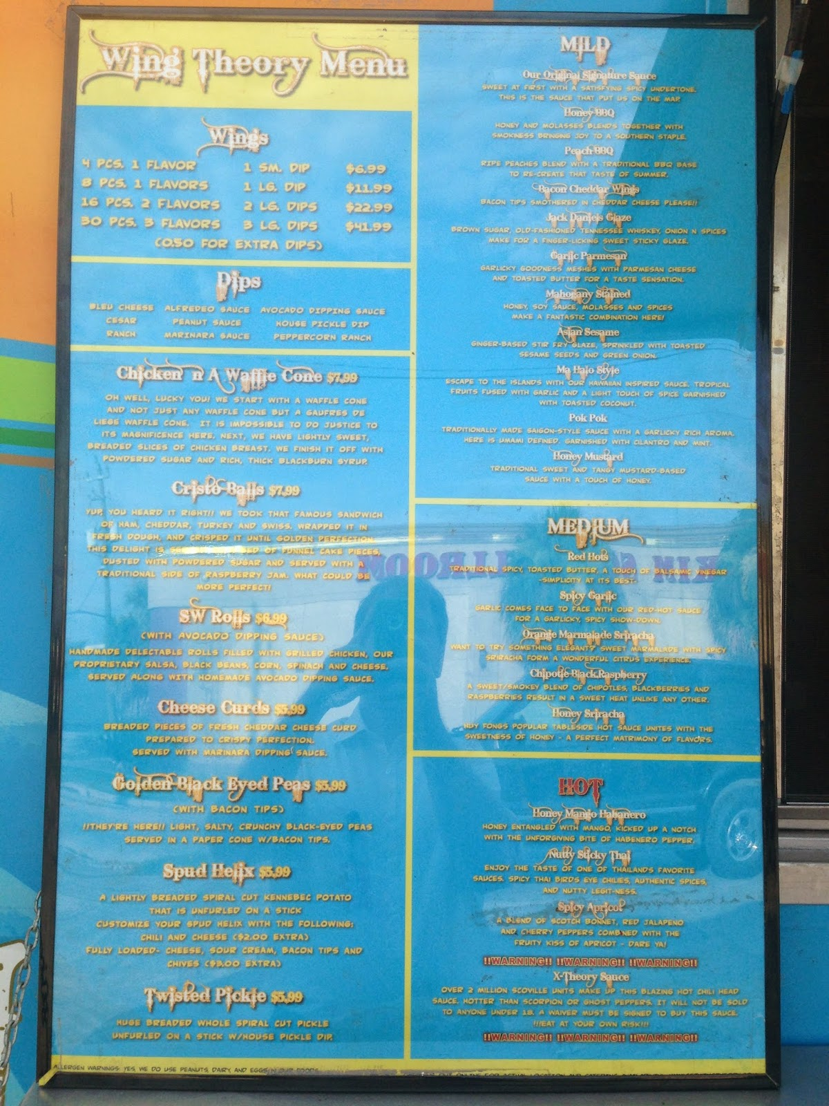 Wing Theory Food Truck Menu