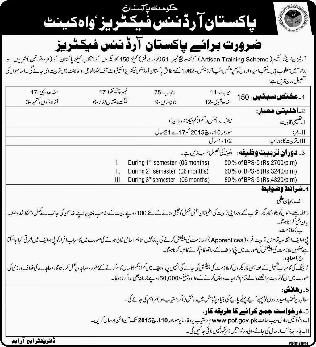 Jobs in Pakistan Ordinance Factory