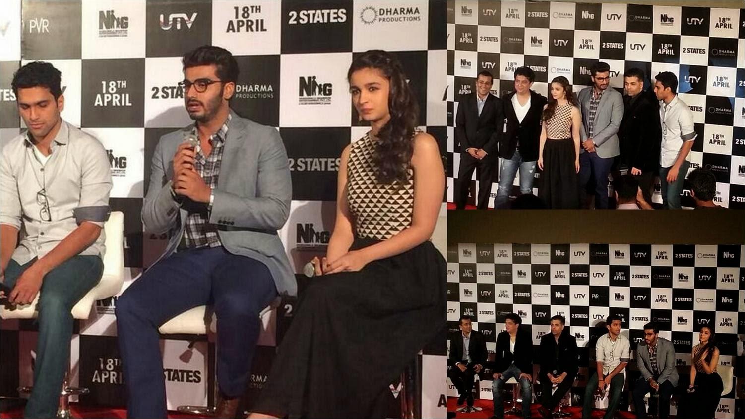 Arjun Kapoor, Alia Bhatt, Karan Johar, Sajid Nadiadwala and team of 2 States at official trailer launch event