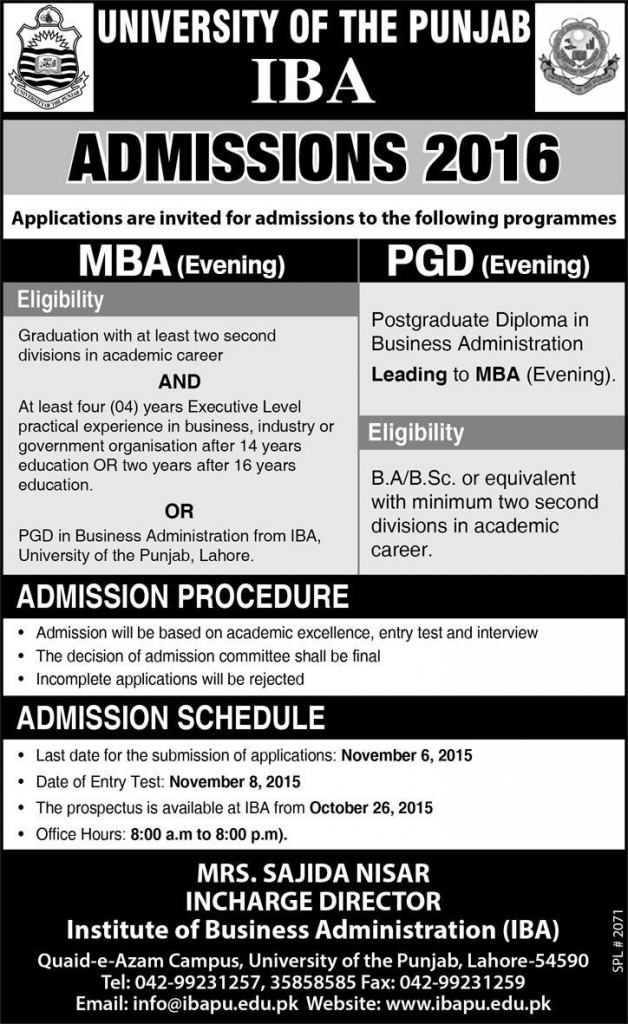 University of Punjab IBA Lahore Admissions 2016