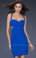 Къса рокля с презрамки и гол гръб в кобалтово синьо, дизайн La Femme Fashion