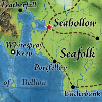 Vicinity of Seahollow, capital city of the fellfolk nation of Belledor, Great Caldera, World of Calidar.  Topographical map.  Stereographic Projection.