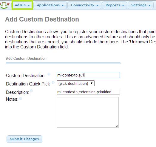 FreePBX: Custom destination