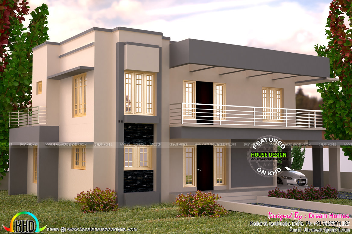 3005 square feet flat roof house plan kerala home design for Flat roof home plans
