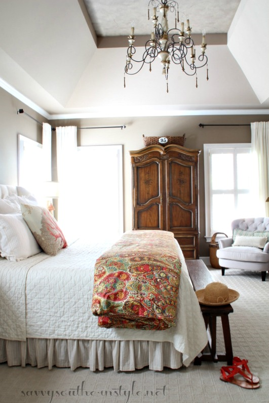 Savvy southern style summer color and whimsy in the master for Southern style bedroom