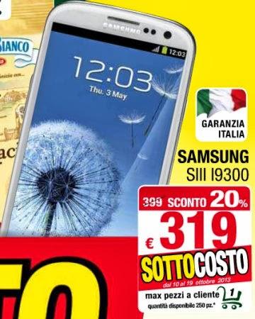 Lo smartphone di samsung Galaxy S3 è disponibile in sottocosto al prezzo di 319 euro fino al 19 ottobre 2013 da Despar