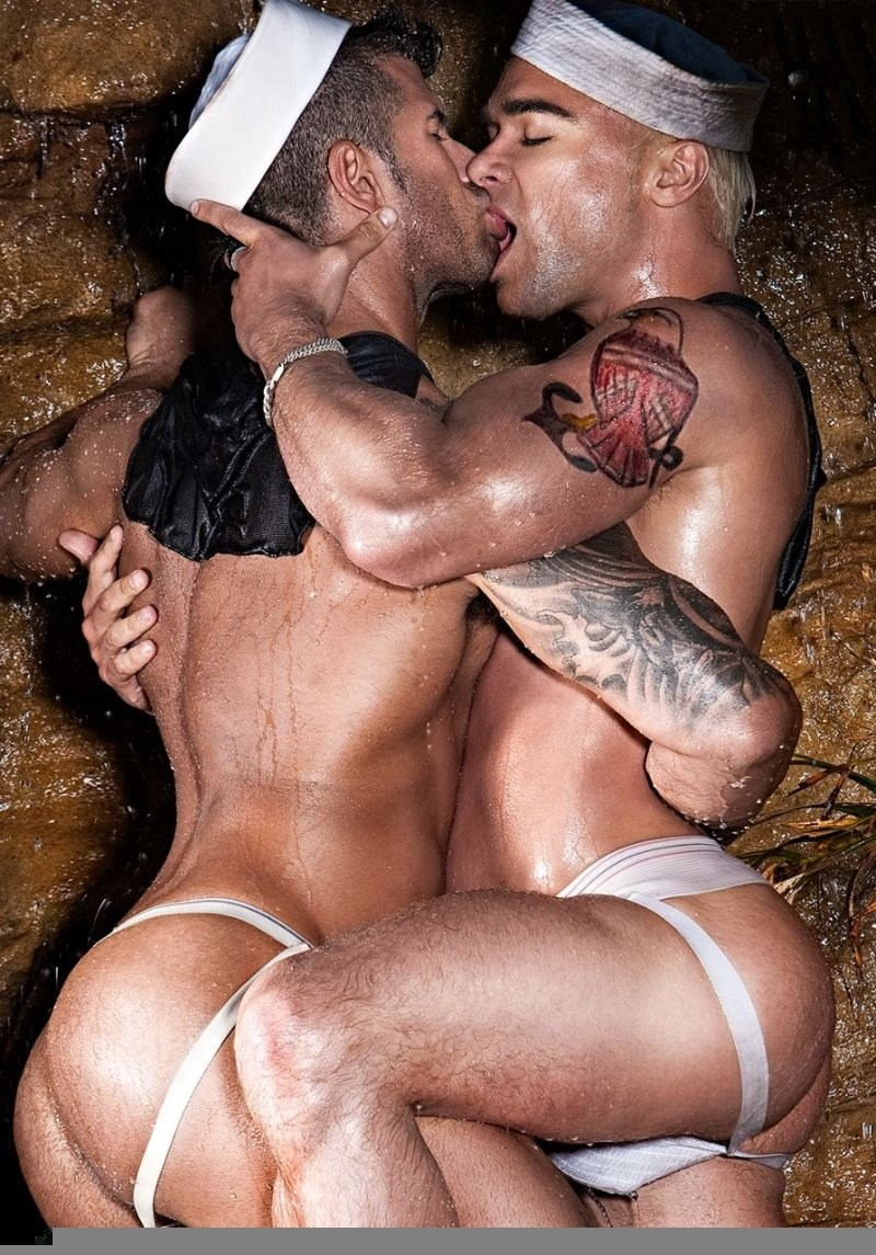 picture of naked men hugging