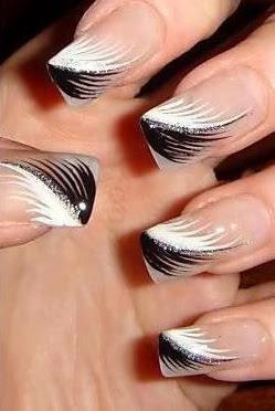 Unhas decoradas com penas brancas e pretas unhas decor for Decor unhas