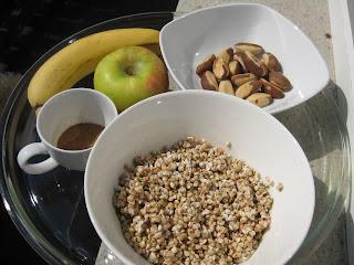 heljda, banana, jabuka, brazilski orasi, buckweat, apple, brazilian nuts, cimet, cinnamon