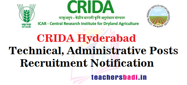CRIDA Hydearabad,Technical,Administrative Posts