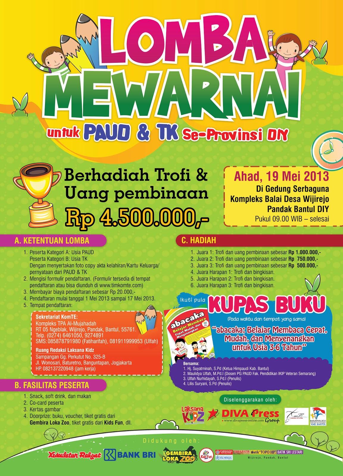 Lomba Mewarnai untuk PAUD & TK Se Provinsi DIY