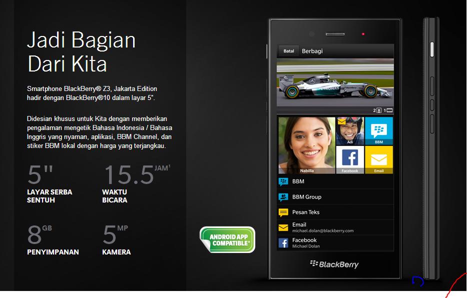 Review dan Harga Blackberry Z3 Jakarta Edition