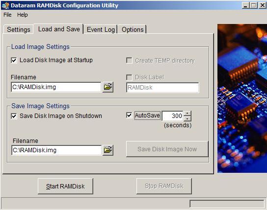 dataram ramdisk en Windows configuracion