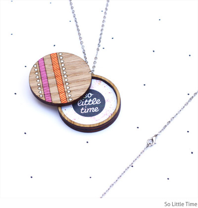So Little Time wooden locket necklace