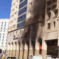 Medine'de Türklerin kaldığı otel yangın çıktı