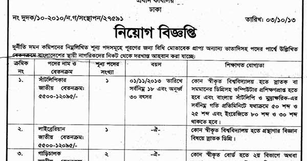 anti corruption commission in bangladesh to Anti corruption commission job circular 2018 has been published recently from the official website of accthe application has to submit from online at their official website acc is one of the busiest and helpful non govt company of bangladesh.