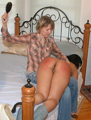 with moms hairbrush Spanked