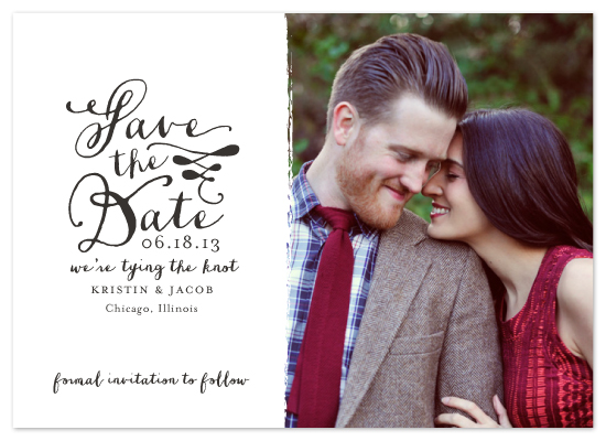 calligraphy save the date, custom photo card, wedding save the date