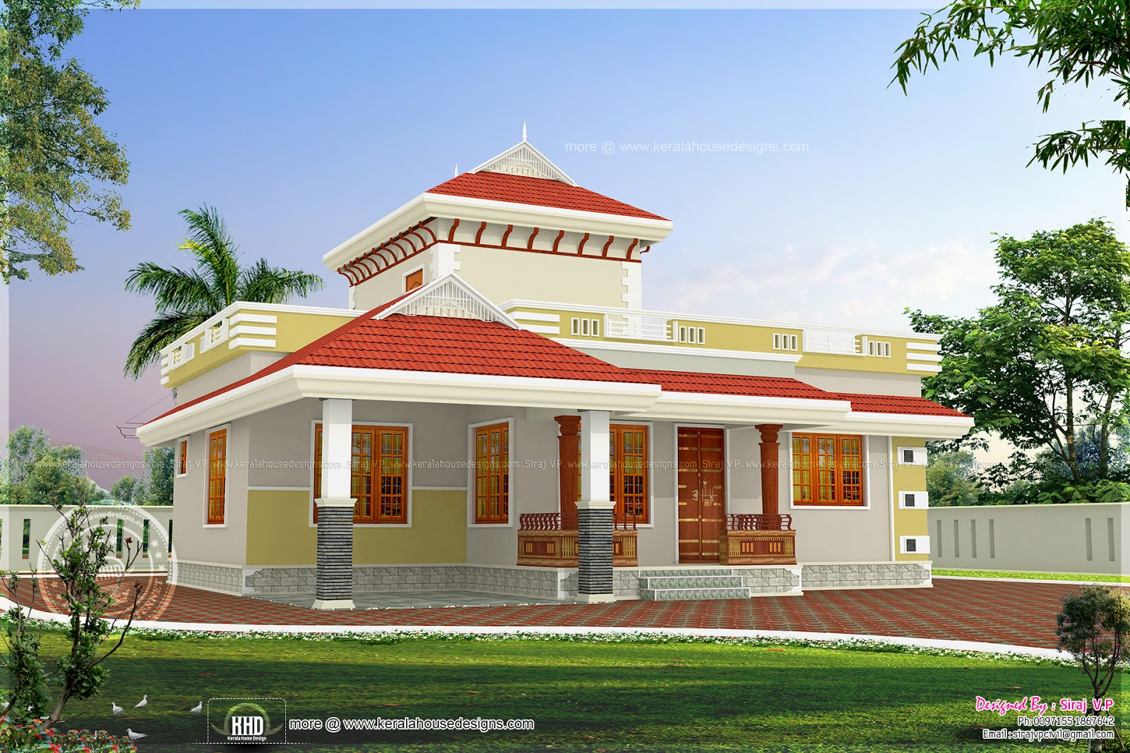 1195 square feet beautiful small house kerala home for Small home design in kerala