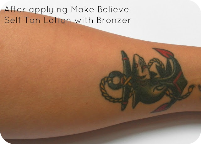 After applying Make Believe Self Tan Lotion with Bronzer Golden Tan Zone 4